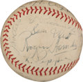 Baseball Collectibles:Balls, 1935-36 Multi Signed St. Louis Browns vs. Philadelphia A's Baseball With Mack & Hornsby. ...