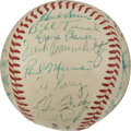 Baseball Collectibles:Balls, 1954 Chicago Cubs Team Signed Baseball With Ernie Banks Rookie Autograph. ...