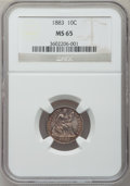 Seated Dimes: , 1883 10C MS65 NGC. NGC Census: (76/61). PCGS Population (73/69).Mintage: 7,674,673. Numismedia Wsl. Price for problem free...