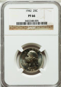 Proof Washington Quarters: , 1942 25C PR66 NGC. NGC Census: (707/229). PCGS Population(965/161). Mintage: 21,123. Numismedia Wsl. Price for problemfre...