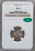 Barber Dimes: , 1905-O 10C MS62 NGC. CAC. NGC Census: (21/98). PCGS Population(12/101). Mintage: 3,400,000. Numismedia Wsl. Price for prob...