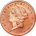 Patterns, 1879 $20 Metric Twenty Dollar, Judd-1644, Pollock-1844, R.7 (but at least 4 gilt), PR64+ Red and Brown NGC. CAC....