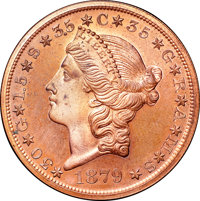 1879 $20 Metric Twenty Dollar, Judd-1644, Pollock-1844, R.7 (but at least 4 gilt), PR64+ Red and Brown NGC. CAC....(PCGS...