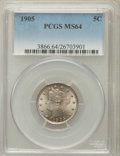 Liberty Nickels: , 1905 5C MS64 PCGS. PCGS Population (430/288). NGC Census:(288/185). Mintage: 29,827,276. Numismedia Wsl. Price forproblem...