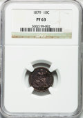 Proof Seated Dimes: , 1879 10C PR63 NGC. NGC Census: (45/156). PCGS Population (71/127).Mintage: 1,100. Numismedia Wsl. Price for problem free N...