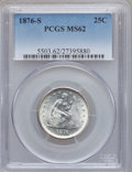 Seated Quarters: , 1876-S 25C MS62 PCGS. PCGS Population (45/161). NGC Census:(43/130). Mintage: 8,596,000. Numismedia Wsl. Price for problem...