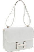 Luxury Accessories:Bags, Hermes 23cm White Epsom Leather Double-Gusset Constance Bag withPalladium Hardware. ...