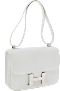 Hermes 23cm White Epsom Leather Double-Gusset Constance Bag with Palladium Hardware