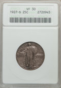 Standing Liberty Quarters: , 1927-S 25C VF30 ANACS. NGC Census: (55/384). PCGS Population(100/632). Mintage: 396,000. Numismedia Wsl. Price for problem...