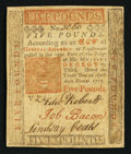 Colonial Notes:Pennsylvania, Pennsylvania April 10, 1775 £5 Extremely Fine.. ...