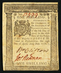 Colonial Notes:Pennsylvania, Pennsylvania April 25, 1776 1s Extremely Fine.. ...