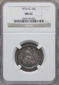Seated Quarters: , 1876-CC 25C MS62 NGC. NGC Census: (26/110). PCGS Population(29/108). Mintage: 4,944,000. Numismedia Wsl. Price for problem...