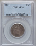 Seated Quarters: , 1851 25C VF20 PCGS. CAC. PCGS Population (3/56). NGC Census:(0/28). Mintage: 160,000. Numismedia Wsl. Price for problem fr...