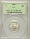Barber Dimes: , 1914 10C MS63 PCGS. PCGS Population (202/488). NGC Census:(148/449). Mintage: 17,360,656. Numismedia Wsl. Price for proble...