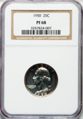 Proof Washington Quarters: , 1950 25C PR68 NGC. NGC Census: (53/2). PCGS Population (12/0).Mintage: 51,386. Numismedia Wsl. Price for problem free NGC/...