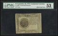 Colonial Notes:Continental Congress Issues, Continental Currency September 26, 1778 $7 Counterfeit Detector PMGAbout Uncirculated 53.. ...