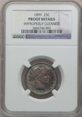 Proof Barber Quarters: , 1899 25C -- Improperly Cleaned -- NGC Details. Proof. NGC Census: (1/155). PCGS Population (11/207). Mintage: 846. Numismed...