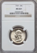 Washington Quarters: , 1937 25C MS66+ NGC. NGC Census: (306/60). PCGS Population (367/53).Mintage: 19,701,542. Numismedia Wsl. Price for problem ...