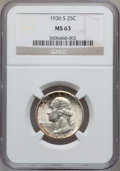 Washington Quarters: , 1936-S 25C MS63 NGC. NGC Census: (134/1026). PCGS Population(199/1985). Mintage: 3,828,000. Numismedia Wsl. Price for prob...