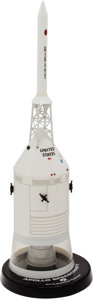 Explorers:Space Exploration, Apollo Spacecraft Rockwell Contractor's Model on Base. ...