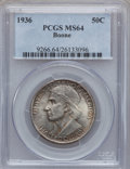 Commemorative Silver: , 1936 50C Boone MS64 PCGS. PCGS Population (714/1126). NGC Census:(439/876). Mintage: 12,012. Numismedia Wsl. Price for pro...