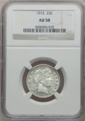 Barber Quarters: , 1915 25C AU58 NGC. NGC Census: (32/331). PCGS Population (58/464).Mintage: 3,480,450. Numismedia Wsl. Price for problem fr...