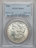 Morgan Dollars: , 1881 $1 MS64 PCGS. PCGS Population (3960/1016). NGC Census:(3901/681). Mintage: 9,163,975. Numismedia Wsl. Price for probl...