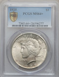 Peace Dollars: , 1925 $1 MS64+ PCGS Secure. PCGS Population (16795/8426). NGCCensus: (20648/11798). Mintage: 10,198,000. Numismedia Wsl. Pr...