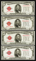 Small Size:Legal Tender Notes, Fr. 1525 $5 1928 Legal Tender Note. Three Examples. Crisp Uncirculated.. Fr. 1526 $5 1928A Legal Tender Note. Crisp Uncirc... (Total: 4 notes)