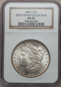 Morgan Dollars: , 1882-S $1 MS65 NGC. Ex: Jules River Collection. NGC Census:(17767/7918). PCGS Population (16638/5157). Mintage: 9,250,000....