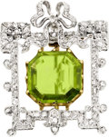 Estate Jewelry:Brooches - Pins, Peridot, Diamond, Silver-Topped Gold Brooch, circa 1900. ...