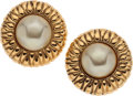 Luxury Accessories:Accessories, Chanel Large Gold and Pearl-Effect Clip-On Earrings . ...