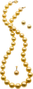 Estate Jewelry:Suites, South Sea Cultured Pearl, Diamond, Gold Suite. ...