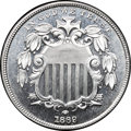 Patterns, 1869 P5C Shield Nickel, Judd-688, Pollock-769, High R.7, PR67 CameoNGC. CAC....
