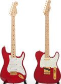 Musical Instruments:Electric Guitars, 1993 Fender Custom Classic Stratocaster/Telecaster Trans Red SolidBody Guitar Set, Serial # 2 of 20.... (Total: 2 Items)