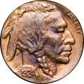 Errors, 1924 5C Buffalo Nickel -- Struck on a Cent Planchet -- MS67 Red andBrown NGC....