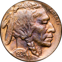 1924 5C Buffalo Nickel -- Struck on a Cent Planchet -- MS67 Red and Brown NGC