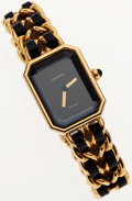 Luxury Accessories:Accessories, Chanel Premiere Ladies Watch with Classic 18K Gold Plated Chain andLeather Strap. ...