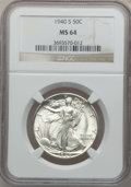 Walking Liberty Half Dollars, (6)1940-S 50C MS64 NGC. Mintage: 4,550,000.... (Total: 6 coins)