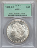 Morgan Dollars: , 1885-CC $1 MS63 PCGS. PCGS Population (4574/12050). NGC Census:(2258/5890). Mintage: 228,000. Numismedia Wsl. Price for pr...