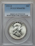 Franklin Half Dollars: , 1953-D 50C MS66 Full Bell Lines PCGS. PCGS Population (99/1). NGCCensus: (14/1). Numismedia Wsl. Price for problem free N...