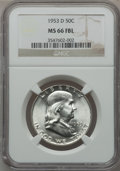 Franklin Half Dollars: , 1953-D 50C MS66 Full Bell Lines NGC. NGC Census: (14/1). PCGSPopulation (96/1). Numismedia Wsl. Price for problem free NG...