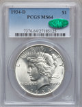Peace Dollars: , 1934-D $1 MS64 PCGS. CAC. PCGS Population (1245/470). NGC Census:(755/288). Mintage: 1,569,500. Numismedia Wsl. Price for ...