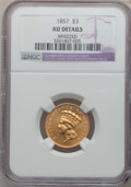 Three Dollar Gold Pieces: , 1857 $3 -- Whizzed -- NGC Details. NGC Census: (35/482). PCGSPopulation (47/217). Mintage: 20,891. Numismedia Wsl. Price f...