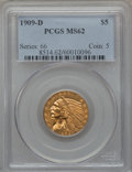 Indian Half Eagles: , 1909-D $5 MS62 PCGS. PCGS Population (9072/12371). NGC Census:(9714/10497). Mintage: 3,423,560. Numismedia Wsl. Price for ...