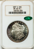 Morgan Dollars: , 1897-S $1 MS64 Prooflike NGC. CAC. NGC Census: (244/126). PCGSPopulation (291/155). Numismedia Wsl. Price for problem fre...