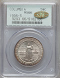 Commemorative Silver: , 1936-S 50C Columbia MS66 PCGS. Gold CAC. PCGS Population (482/83).NGC Census: (609/124). Mintage: 8,007. Numismedia Wsl. P...