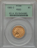 Indian Half Eagles: , 1909-D $5 MS63 PCGS. PCGS Population (9603/2727). NGC Census:(7944/2554). Mintage: 3,423,560. Numismedia Wsl. Price for pr...