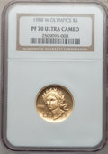 Modern Issues: , 1988-W G$5 Olympic Gold Five Dollar PR70 Ultra Cameo NGC. NGCCensus: (3503). PCGS Population (437). Mintage: 281,000. Numi...