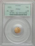 California Fractional Gold: , 1869 50C Liberty Octagonal 50 Cents, BG-907, Low R5, MS62 PCGS.PCGS Population (6/35). NGC Census: (2/8). ...